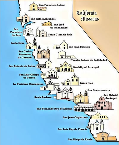 SPANISH COLONIAL FRONTIER - California missions map